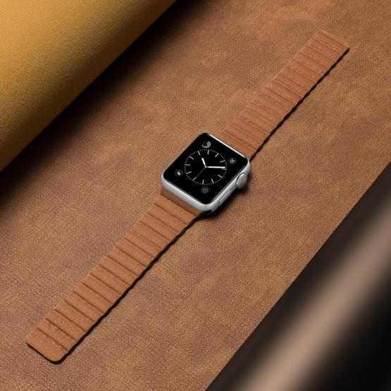 Two Loop Magnetic Replacement Strap Watchband For Apple Watch Series 6 & SE & 5 & 4 44mm / 3 & 2 & 1 42mm(Brown) - 4