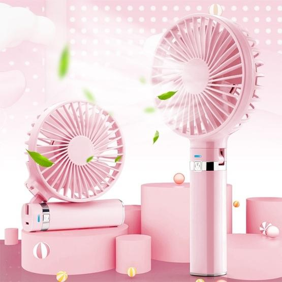 S2 Portable Foldable Handheld Electric Fan, with 3 Speed Control & Night Light (Pink) - 1