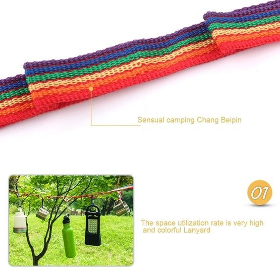 Outdoor Camping Tent Rainbow Rope Decoration Color Ribbon and a Storage Bag, Size: 187*2 cm - 4