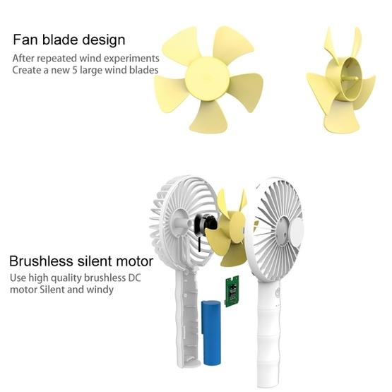 Color : Pink Pink CellphoneMall USB Desk Personal Fan WT-F13 Bamboo Design 2000 mAh Mini Portable Fan with 3 Speed Control