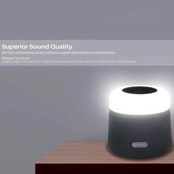 NewRixing NR-3500 Multi-function Atmosphere Light Wireless Charging Bluetooth Speaker with Hands-free Call Function, Support TF Card & USB & FM & AUX (Blue) - 3