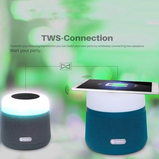 NewRixing NR-3500 Multi-function Atmosphere Light Wireless Charging Bluetooth Speaker with Hands-free Call Function, Support TF Card & USB & FM & AUX (Blue) - 5