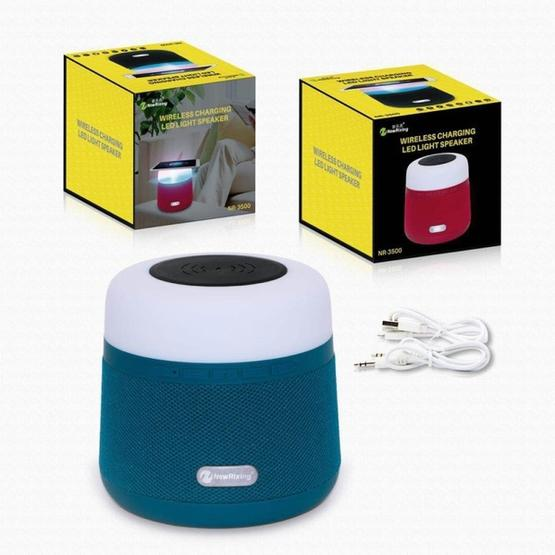 NewRixing NR-3500 Multi-function Atmosphere Light Wireless Charging Bluetooth Speaker with Hands-free Call Function, Support TF Card & USB & FM & AUX (Blue) - 9
