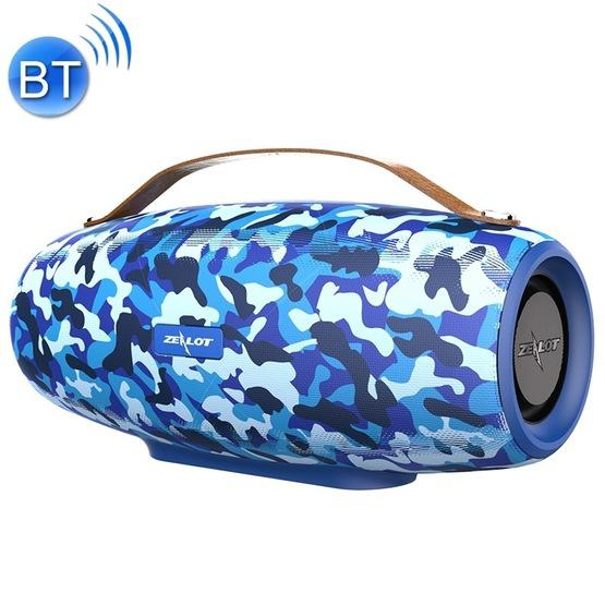 Zealot S27 Multifunctional Bass Wireless Bluetooth Speaker Built In Microphone Support Bluetooth Call Aux Tf Card 1x93mm 2x66mm Speakers Camouflage Blue Flutter Shopping Universe