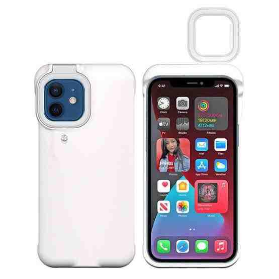 Ring Flash Selfie Fill Light Protective Case For iPhone 12 / 12 Pro (White) - 1