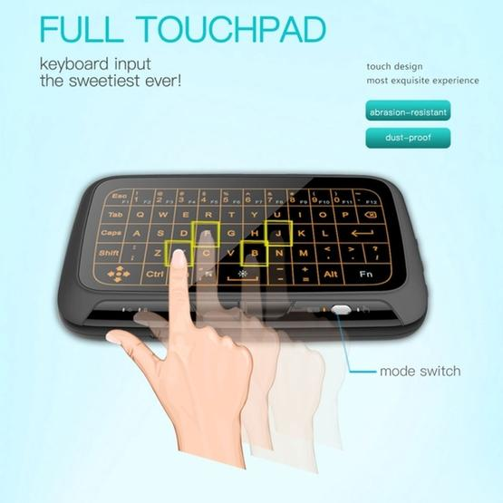Black New Bluetooth Wireless Mouse Keyboard Mini Wireless Keyboard H18 2.4GHz Mini Wireless Keyboard Full Touchpad with 3-Level Adjustable Backlight