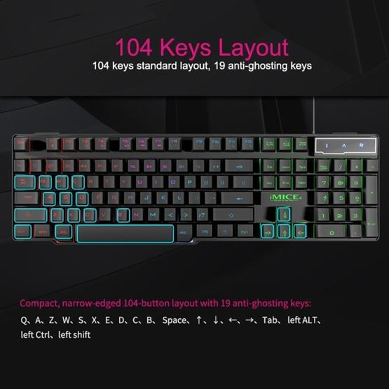 Color : Black Black Computer Accessories AK-600 Wired USB Floating Keycap Characters Glow Backlit Gaming Keyboard