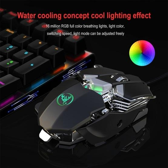 Color : Black J600 9 Keys Programmable Wired E-Sports Mechanical Mouse with Light