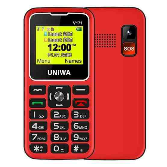 UNIWA V171 Mobile Phone, 1.77 inch, 1000mAh Battery, 21 Keys, Support Bluetooth, FM, MP3, MP4, GSM, Dual SIM, with Docking Base (Red) - 1