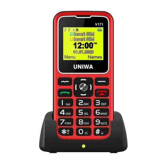 UNIWA V171 Mobile Phone, 1.77 inch, 1000mAh Battery, 21 Keys, Support Bluetooth, FM, MP3, MP4, GSM, Dual SIM, with Docking Base (Red) - 2