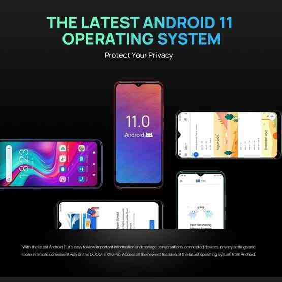 [HK Warehouse] DOOGEE X96 Pro, 4GB+64GB, Quad Back Cameras, 5400mAh Battery, Rear-mounted Fingerprint Identification, 6.52 inch Water-drop Screen Android 11.0 SC9863A OCTA-Core up to 1.6GHz, Network: 4G, OTG, Dual SIM (Blue) - 14