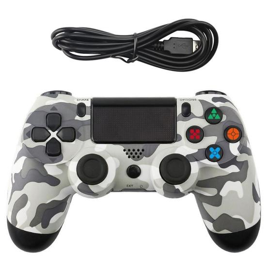 Grey Camouflage Snowflake Button Wired Gamepad Game Handle Controller for PS4 - 1