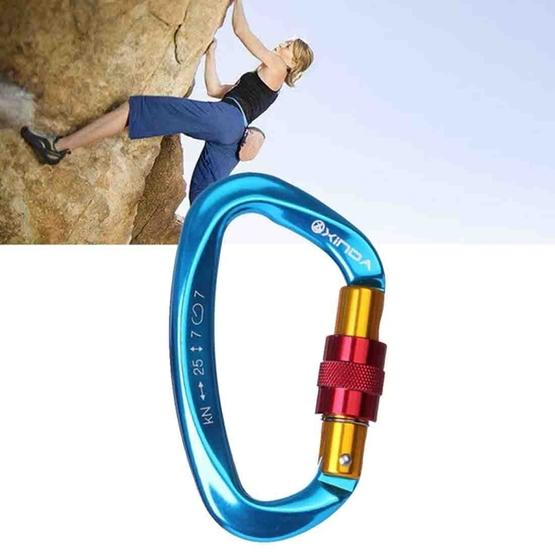 XINDA XD-Q9628 Professional Climbing D-shaped Master Lock Carabiner Safety Buckle Outdoor Climbing Equipment Supplies(Blue) - 1
