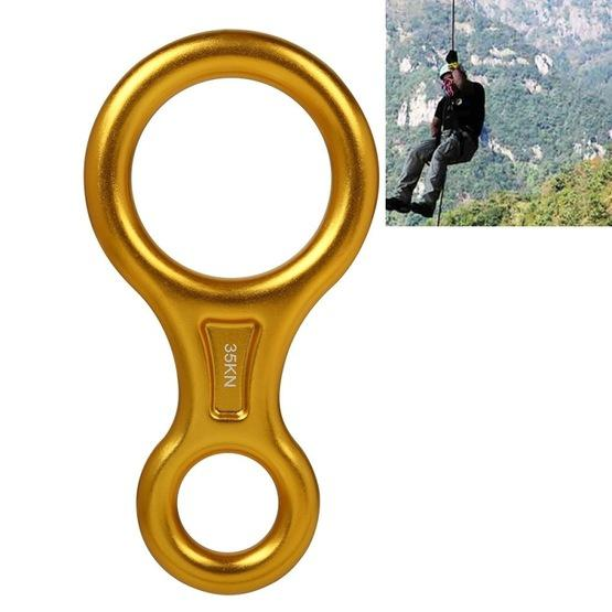 Climbing Rescue Figure 8 Descender Rappelling Gear Belay Device (Gold) - 1