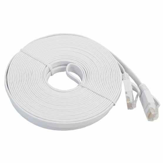 20m CAT6 Ultra-thin Flat Ethernet Network LAN Cable, Patch Lead RJ45 (White) - 2