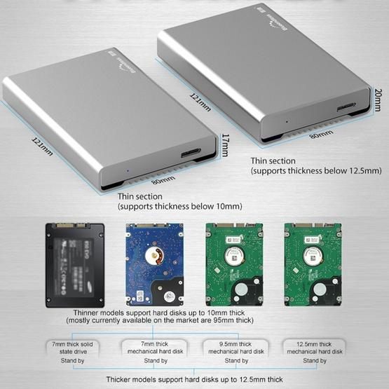 Blueendless U23Q SATA 2.5 inch Micro B Interface HDD Enclosure with Micro B to USB Cable, Support Thickness: 10mm or less - 3