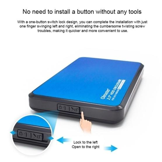 OImaster EB-2506U3 SATA USB 3.0 Interface HDD Enclosure for Laptops, Support Thickness: 7.0-12.5mm (Black) - 7