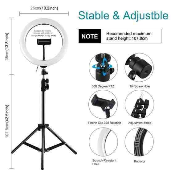 Camera /& Photo 1.1m Tripod Mount 10 inch 26cm LED Ring Vlogging Video Light Live Broadcast Kits