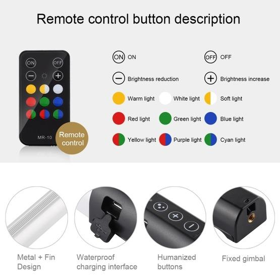 PULUZ RGB Colorful Photo LED Stick Adjustable Color Temperature Handheld LED Fill Light with Remote Control(Black) - 4
