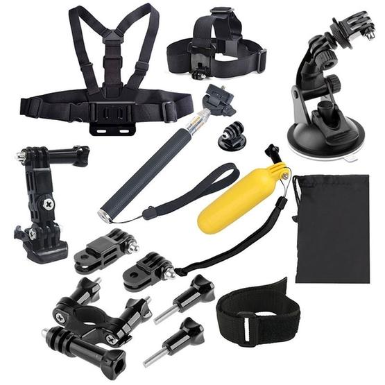 YKD -134 14 in 1 Head Strap + Chest Strap + Floating Handle Grip + Extendable Handle Monopod + Tripod Mount Adapter + Bike Handlebar Holder + Wrist Armband Strap + Suction Cup Mount Holder + 3-Way Adjustable Pivot Arm + Screws + Storage Pouch Set for GoPro NEW HERO / HERO7 /6 /5 /5 Session /4 Session /4 /3+ /3 /2 /1, Xiaoyi and Other Action Cameras - 1