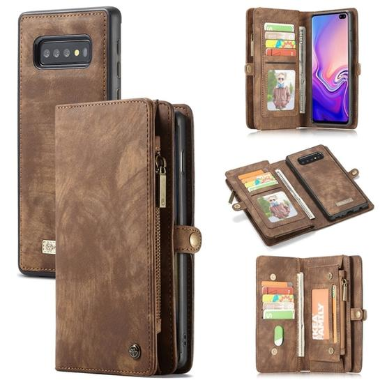 CaseMe Detachable Multifunctional Horizontal Flip Leather Case for Galaxy  S10+, with Card Slot & Holder & Zipper Wallet & Photo Frame(Brown)