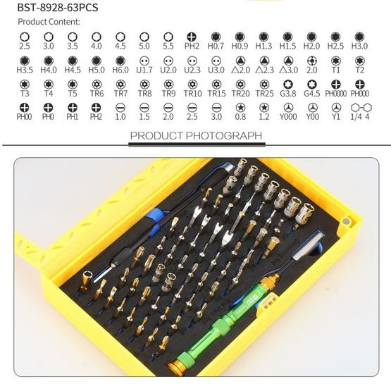 BEST BST-8928 Screwdriver Magnetic Bit Driver Kit 63 in 1 Professional Screwdrivers Set - 3