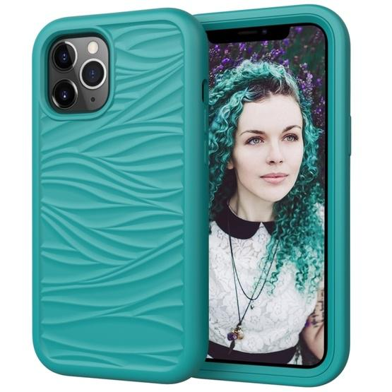 For iPhone 12 / 12 Pro Wave Pattern 3 in 1 Silicone+PC Shockproof Protective Case(Dark Sea Green) - 1