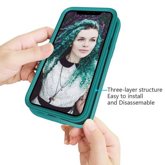 For iPhone 12 / 12 Pro Wave Pattern 3 in 1 Silicone+PC Shockproof Protective Case(Dark Sea Green) - 4