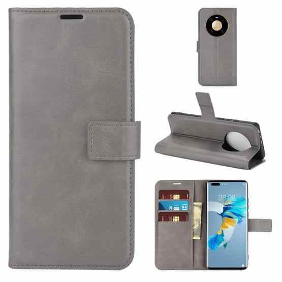 For Huawei Mate 40 Pro Retro Calf Pattern Buckle Horizontal Flip Leather Case with Holder & Card Slots & Wallet(Grey) - 1