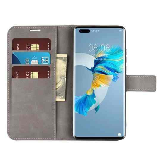For Huawei Mate 40 Pro Retro Calf Pattern Buckle Horizontal Flip Leather Case with Holder & Card Slots & Wallet(Grey) - 5