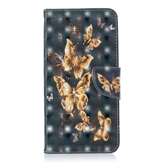 3D Colored Drawing Pattern Horizontal Flip Leather Case for iPhone Xs Max,  with Holder & Card Slots & Wallet(Black Background Butterfly)