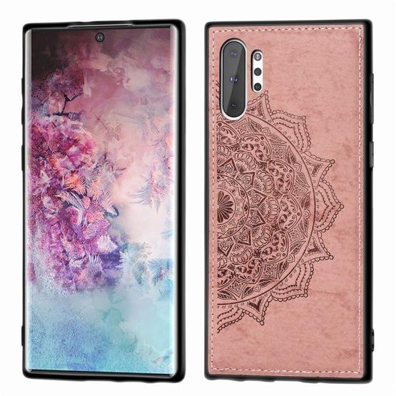 Embossed Mandala Pattern Magnetic PC + TPU + Fabric Shockproof Case for Galaxy Note10+, with Lanyard(Rose Gold) - 1