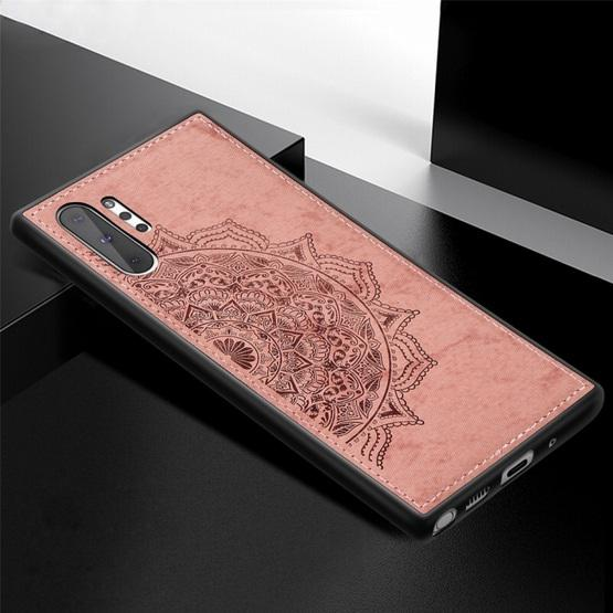 Embossed Mandala Pattern Magnetic PC + TPU + Fabric Shockproof Case for Galaxy Note10+, with Lanyard(Rose Gold) - 3