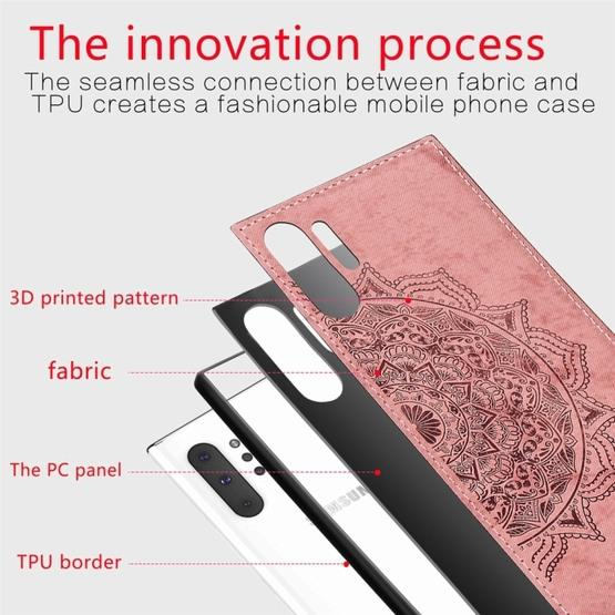 Embossed Mandala Pattern Magnetic PC + TPU + Fabric Shockproof Case for Galaxy Note10+, with Lanyard(Rose Gold) - 4