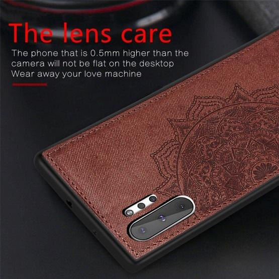 Embossed Mandala Pattern Magnetic PC + TPU + Fabric Shockproof Case for Galaxy Note10+, with Lanyard(Rose Gold) - 8