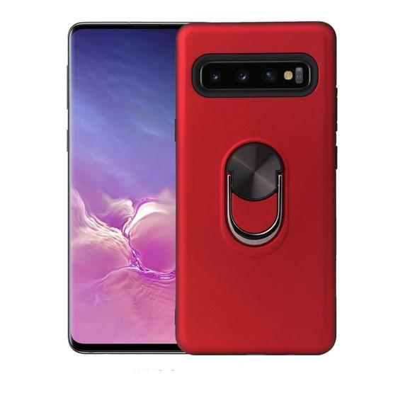 360 Rotary Multifunctional Stent PC+TPU Case for Galaxy S10+ ,with Magnetic Invisible Holder(Red) - 1