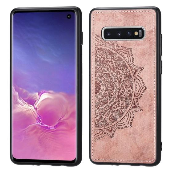 For Galaxy S10 Embossed Mandala Pattern PC + TPU + Fabric Phone Case with Lanyard & Magnetic(Rose Gold) - 1