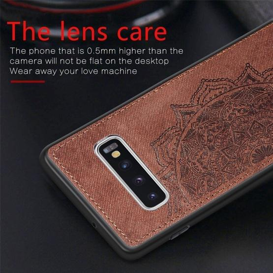 For Galaxy S10 Embossed Mandala Pattern PC + TPU + Fabric Phone Case with Lanyard & Magnetic(Rose Gold) - 7