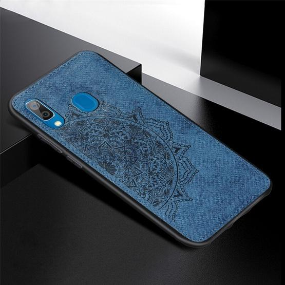 For Galaxy A30 & A20 Embossed Mandala Pattern PC + TPU + Fabric Phone Case with Lanyard & Magnetic(Blue) - 2