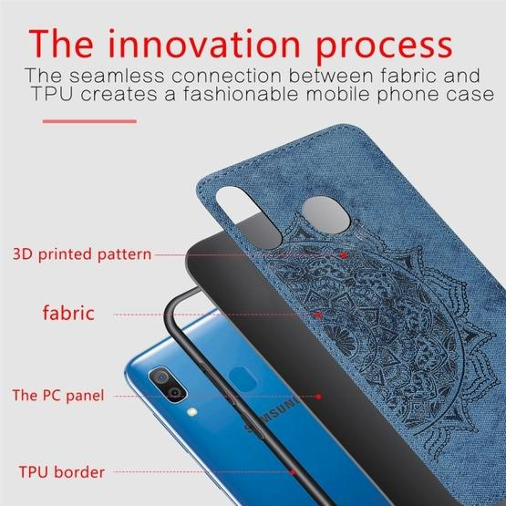 For Galaxy A30 & A20 Embossed Mandala Pattern PC + TPU + Fabric Phone Case with Lanyard & Magnetic(Blue) - 4