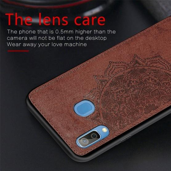 For Galaxy A30 & A20 Embossed Mandala Pattern PC + TPU + Fabric Phone Case with Lanyard & Magnetic(Blue) - 6