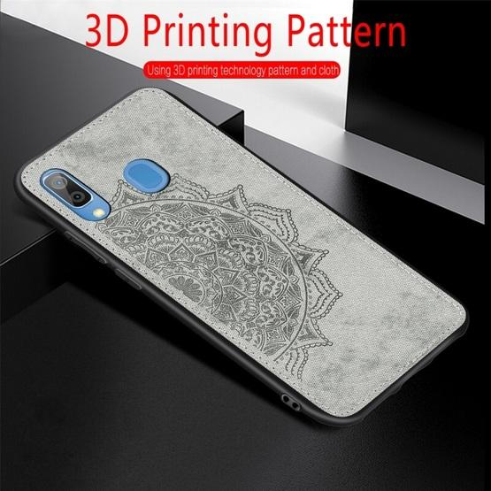 For Galaxy A30 & A20 Embossed Mandala Pattern PC + TPU + Fabric Phone Case with Lanyard & Magnetic(Blue) - 9