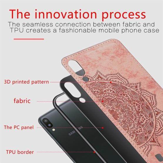 For Galaxy M10 Embossed Mandala Pattern PC + TPU + Fabric Phone Case with Lanyard & Magnetic(Rose Gold) - 4