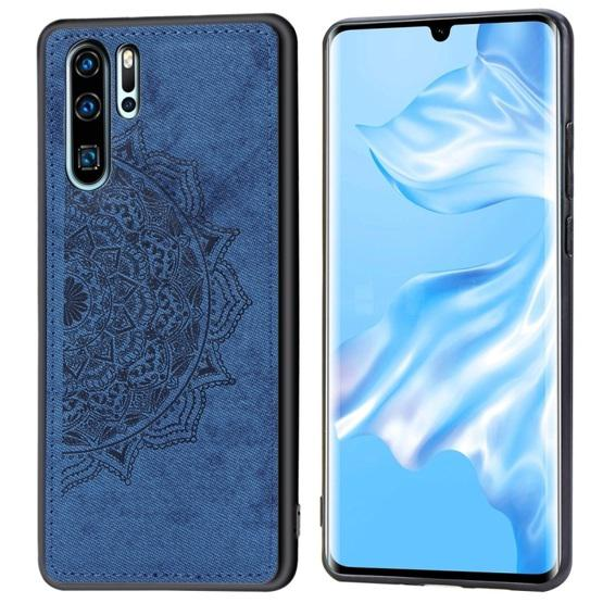 For Huawei P30 Pro Embossed Mandala Pattern PC + TPU + Fabric Phone Case with Lanyard & Magnetic(Blue) - 1
