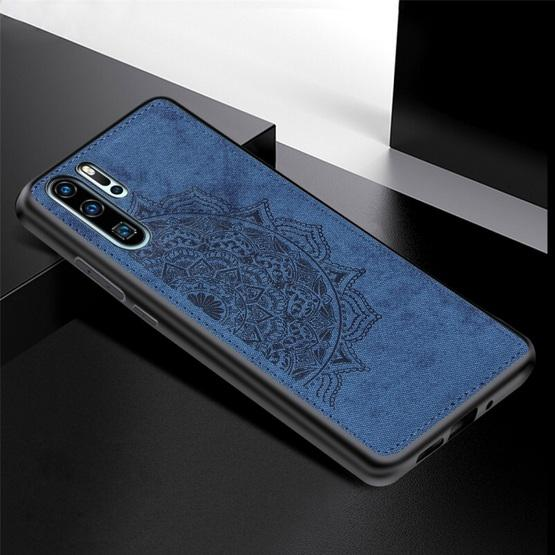 For Huawei P30 Pro Embossed Mandala Pattern PC + TPU + Fabric Phone Case with Lanyard & Magnetic(Blue) - 2