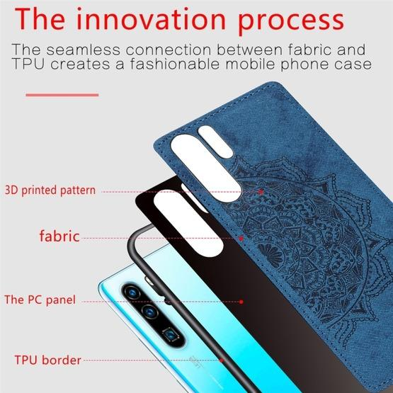 For Huawei P30 Pro Embossed Mandala Pattern PC + TPU + Fabric Phone Case with Lanyard & Magnetic(Blue) - 4