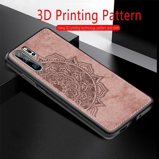 For Huawei P30 Pro Embossed Mandala Pattern PC + TPU + Fabric Phone Case with Lanyard & Magnetic(Blue) - 9
