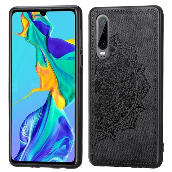 For Huawei P30 Embossed Mandala Pattern PC + TPU + Fabric Phone Case with Lanyard & Magnetic(Black) - 1