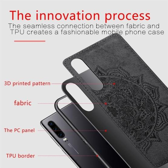 For Huawei P30 Embossed Mandala Pattern PC + TPU + Fabric Phone Case with Lanyard & Magnetic(Black) - 2