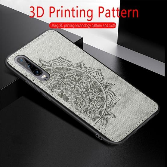 For Huawei P30 Embossed Mandala Pattern PC + TPU + Fabric Phone Case with Lanyard & Magnetic(Black) - 8